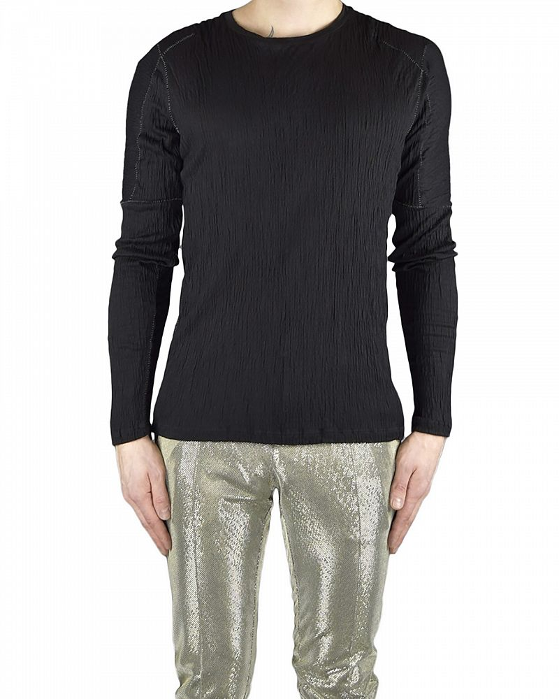 LONG SLEEVE CREPE T-SHIRT WITH STITCH DETAIL