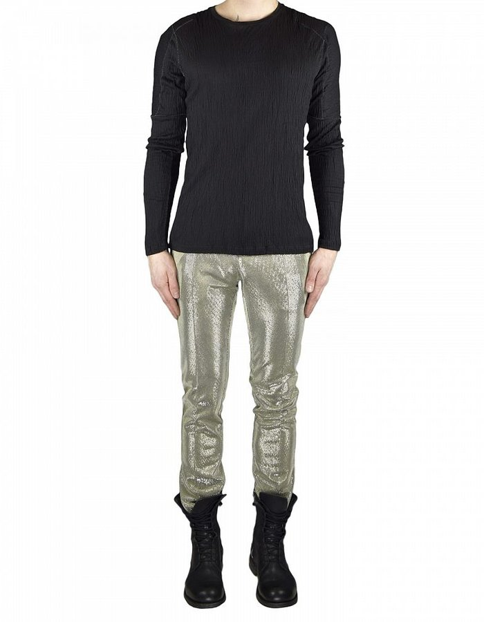 TOM REBL LONG SLEEVE CREPE T-SHIRT WITH STITCH DETAIL