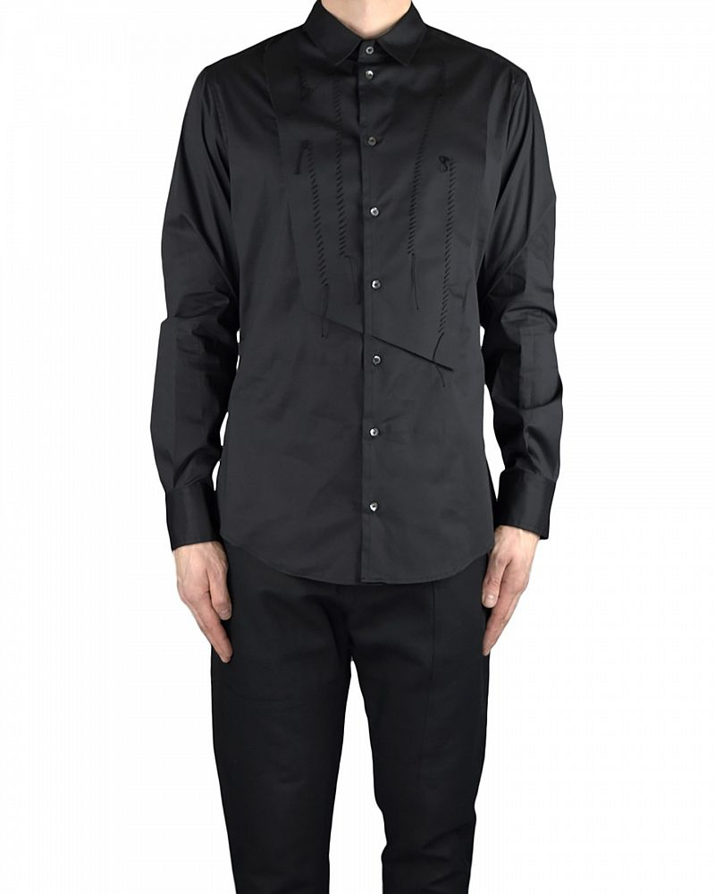 DRESS SHIRT WITH FRONT PANEL DETAIL BLACK
