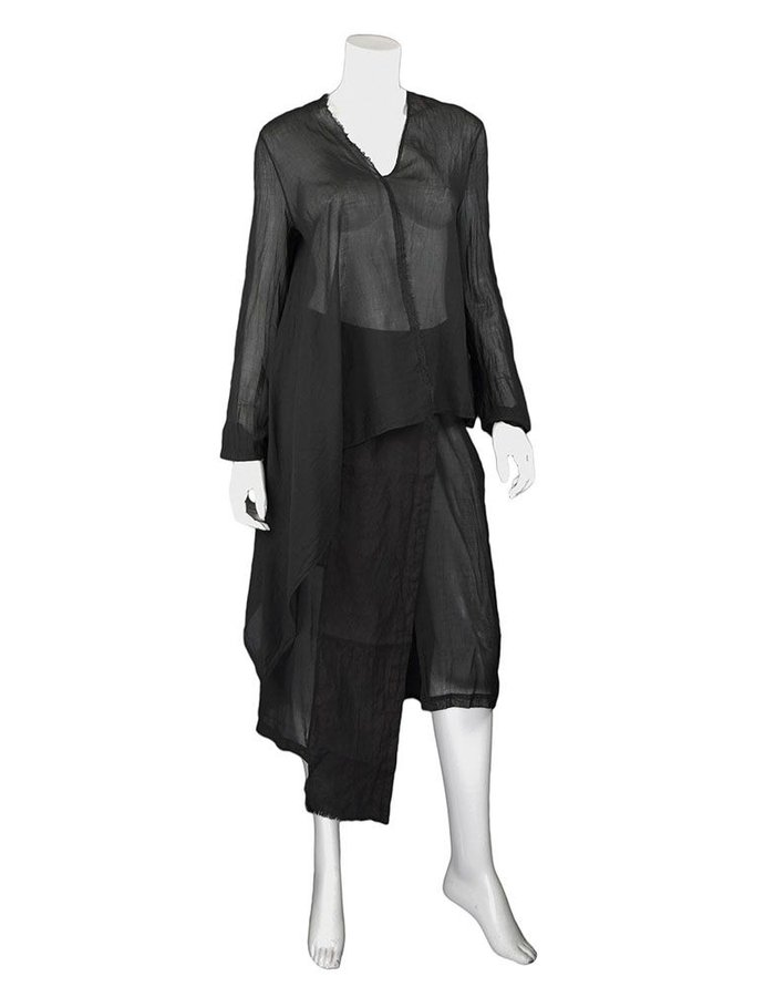 LOST AND FOUND ROOMS BLACK ASYMMETRIC COTTON SHIRT