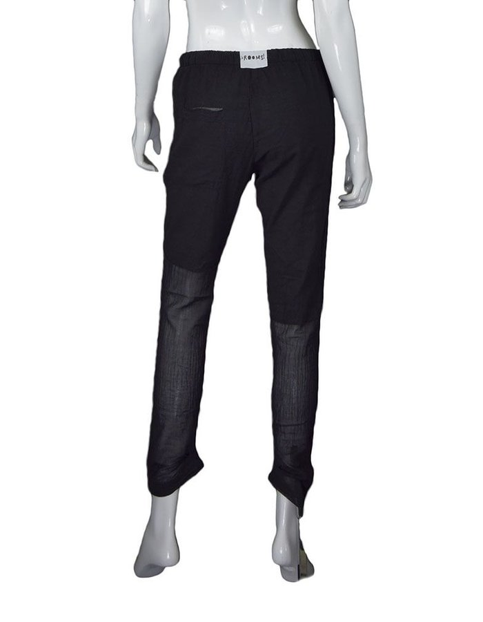 LOST AND FOUND ROOMS BLACK INTARSIA COTTON PANT