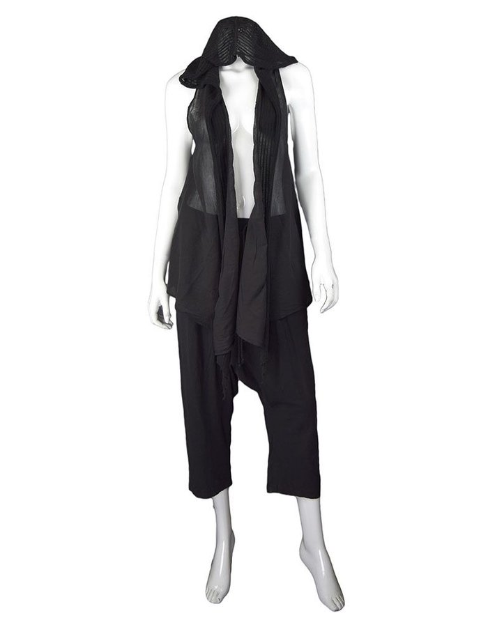 LOST AND FOUND ROOMS BLACK SLEEVELESS COTTON CARDIGAN