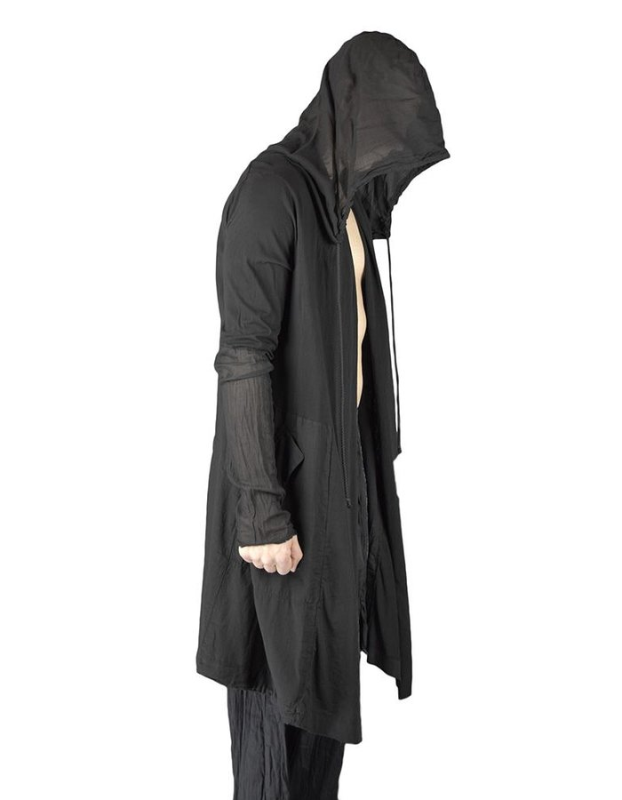 LOST AND FOUND COTTON HOODED PARKA :BLK