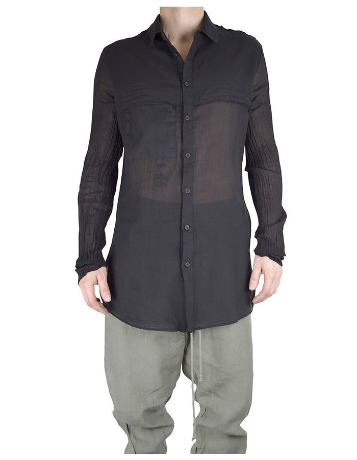 LOST AND FOUND ROOMS COTTON LAYERED SHIRT :BLK
