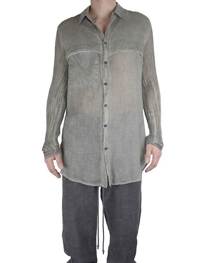 LOST AND FOUND ROOMS COTTON LAYERED SHIRT:SAGE