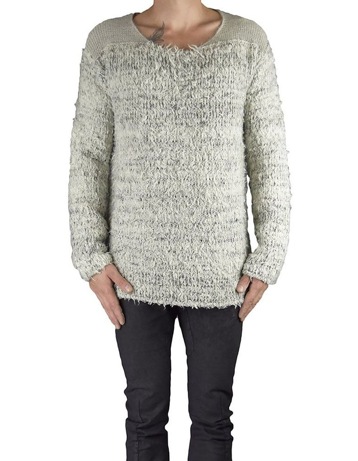 LOST AND FOUND ECRU BLEND CREWNECK SWEATER