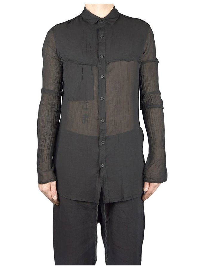 LOST AND FOUND ROOMS FINE GAUZE RAW EDGE SHIRT :BLK