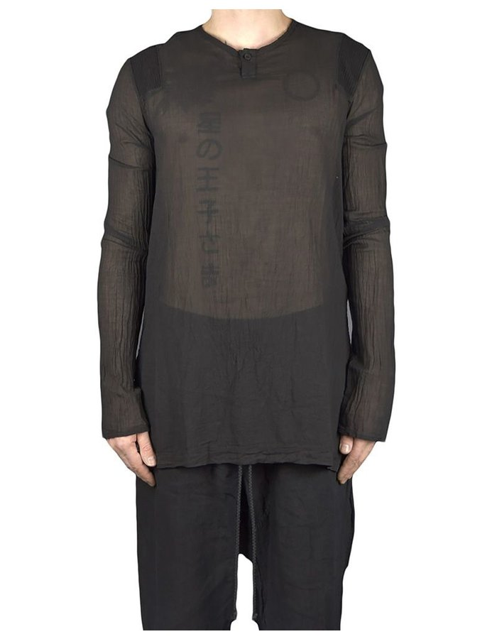 LOST AND FOUND ROOMS FINE COTTON GAUZE HENLY TOP: BLK