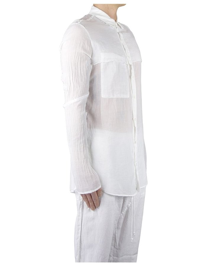 LOST AND FOUND ROOMS FINE GAUZE RAW EDGE SHIRT WHITE