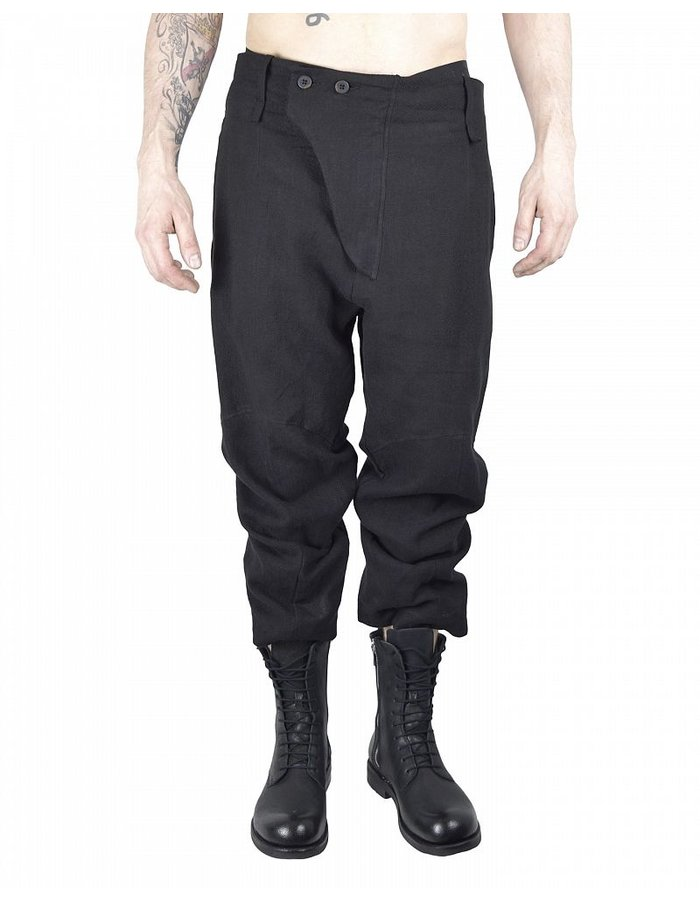 LOST AND FOUND HEMP CROPPED PANT :BLK