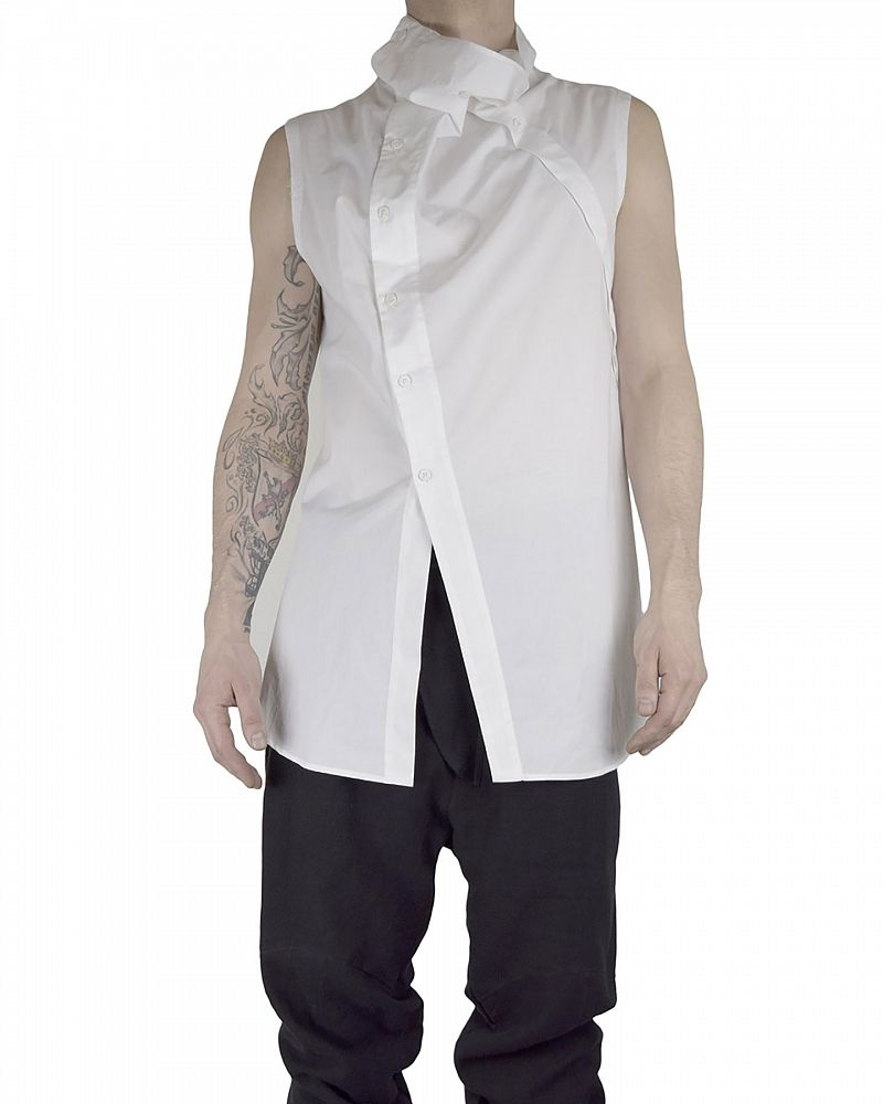 Mens High Collar Shirt In White By Lost And Found Shopuntitled