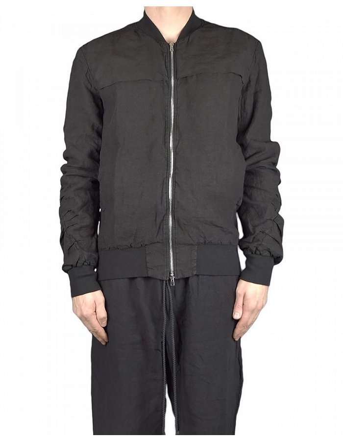 LOST AND FOUND ROOMS LINEN BOMBER JACKET :BLK