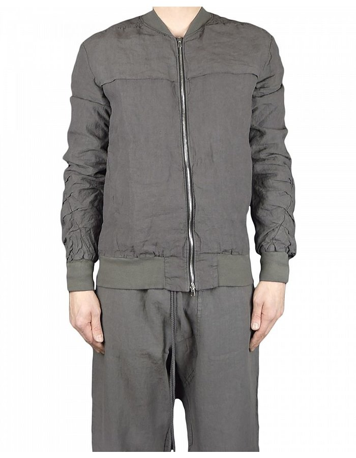 LOST AND FOUND ROOMS LINEN BOMBER JACKET: COAL