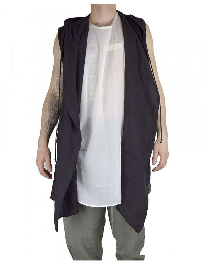 LOST AND FOUND ROOMS LINEN CARDIGAN : BLK