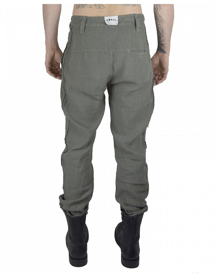 LOST AND FOUND ROOMS LINEN DIAGONAL FLY PANT:SAGE