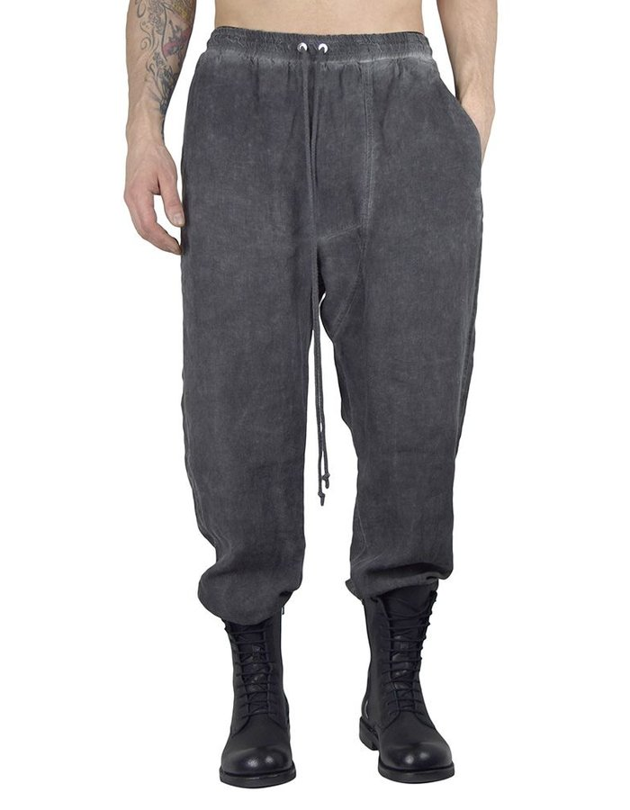 LOST AND FOUND ROOMS LINEN EASY PANT : COLD BLACK