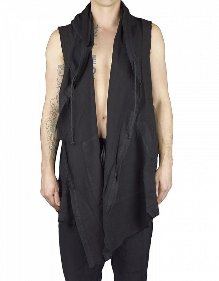 LOST AND FOUND ROOMS LINEN SLEEVELESS CARDIGAN BLK