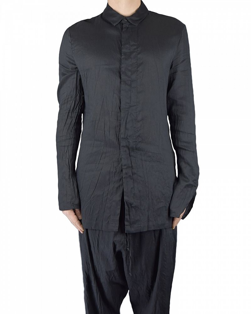 REN SHIRT COTTON / LINEN /SILK :BLK