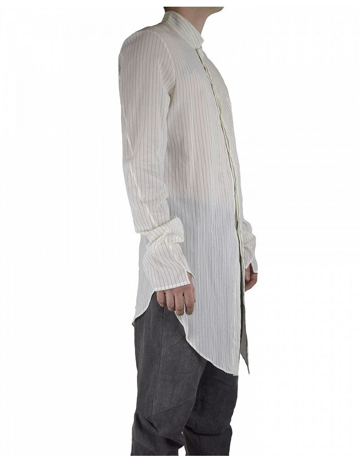 LOST AND FOUND SHIFTED FRONT SHIRT -ECRU PINSTRIPE