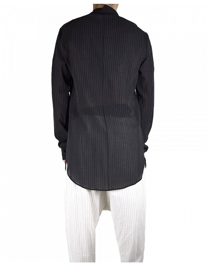 LOST AND FOUND SHIFTED FRONT SHIRT BLK PINSTRIPE