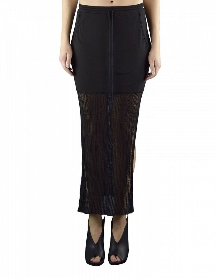 LOST AND FOUND ROOMS STRETCH LONG SKIRT WITH MESH BOTTOM