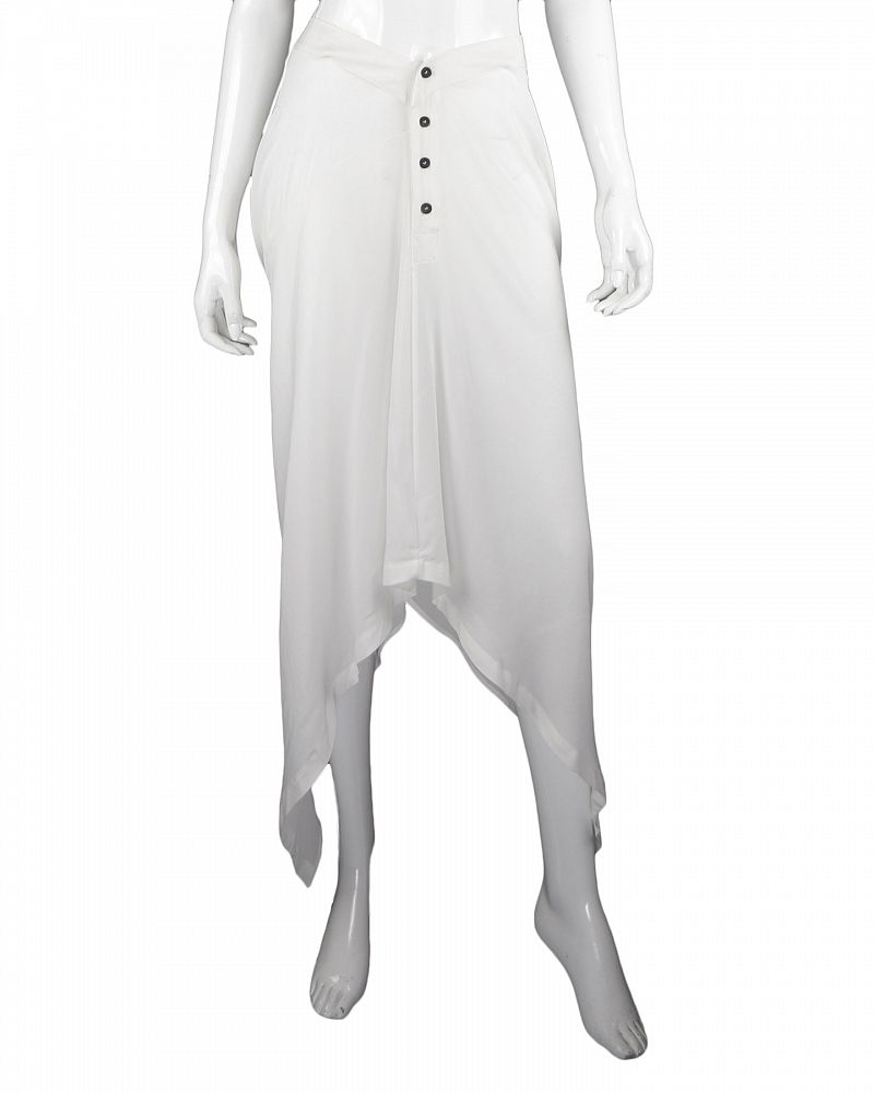 STRETCH SILK 1 LEG SKIRT: WHITE