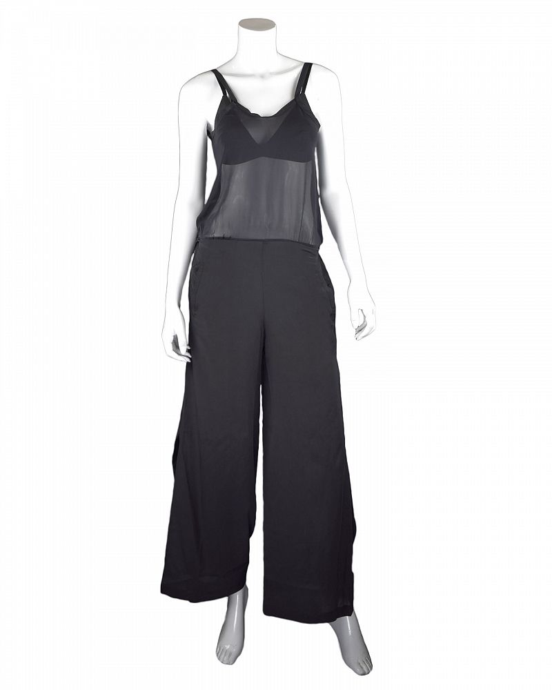 STRETCH SILK JUMPSUIT BLACK