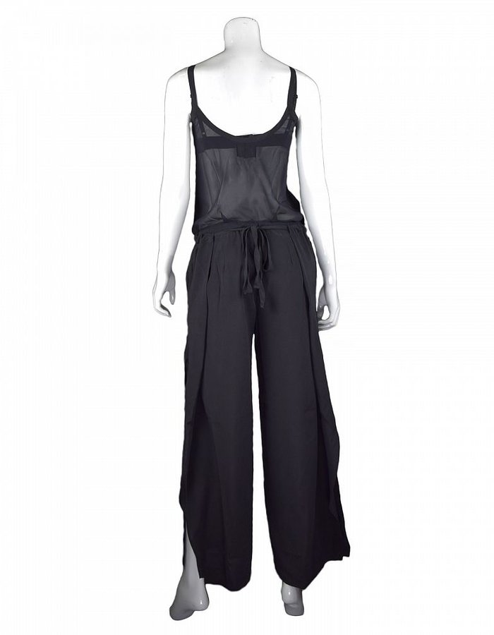 LOST AND FOUND STRETCH SILK JUMPSUIT BLACK