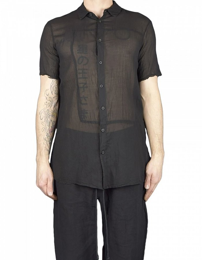 LOST AND FOUND ROOMS SUPERFINE COTTON  GAUZE SHIRT BLACK