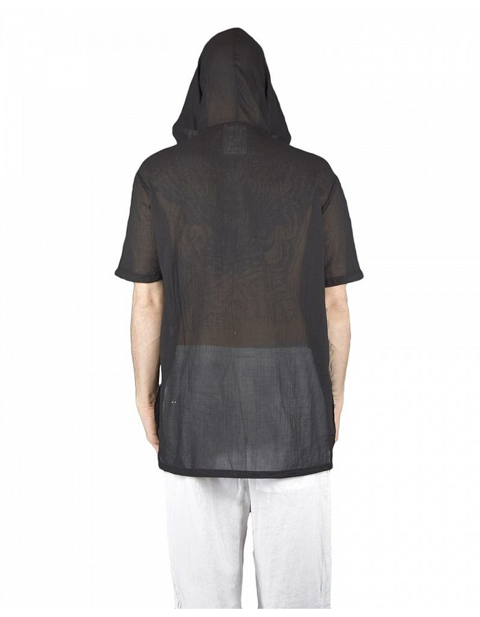 LOST AND FOUND ROOMS SUPERFINE COTTON HOODED TOP BLK