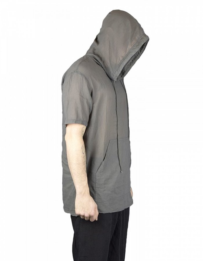 LOST AND FOUND ROOMS SUPERFINE COTTON HOODED TOP COAL