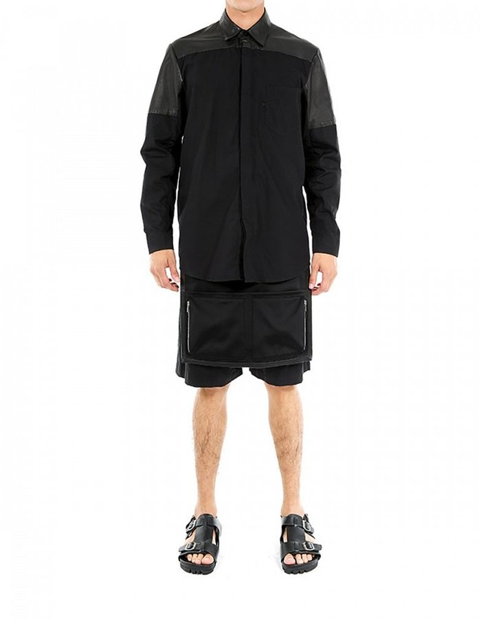 SKINGRAFT LEATHER AND COTTON COLLAR SHIRT