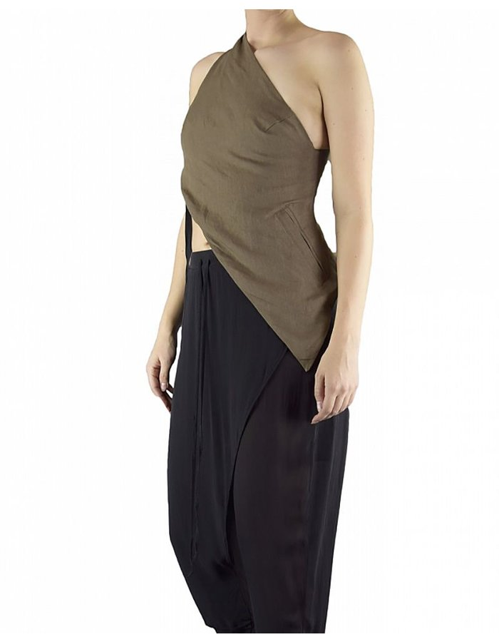 ISABEL BENENATO LINEN HALF VEST WITH ONE POCKET:SOIL