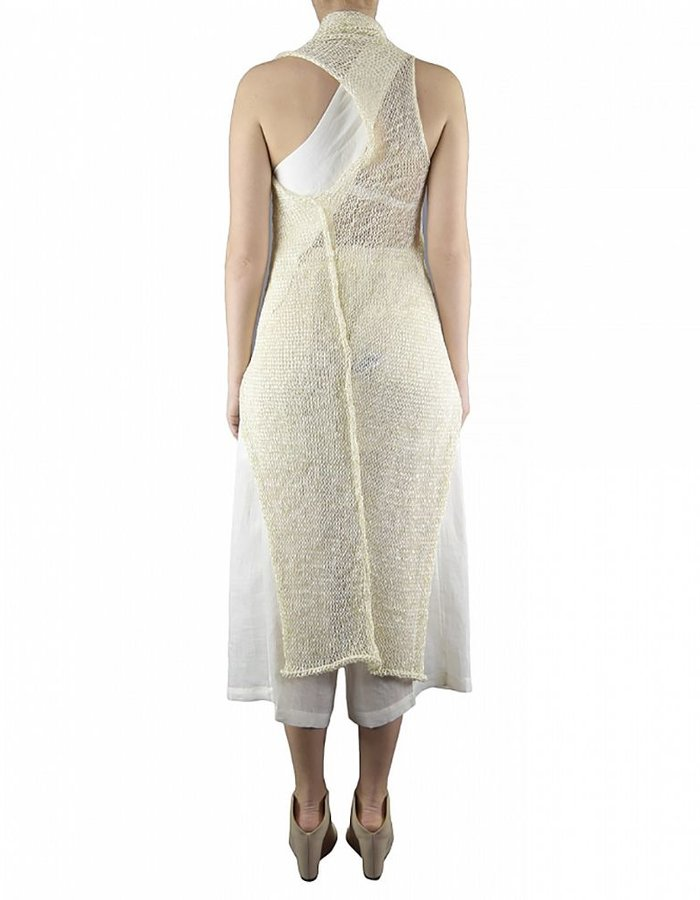 ISABEL BENENATO SLEEVELESS ASYMMETRIC KNIT LONG VEST WITH STICK BUTTON:MILK