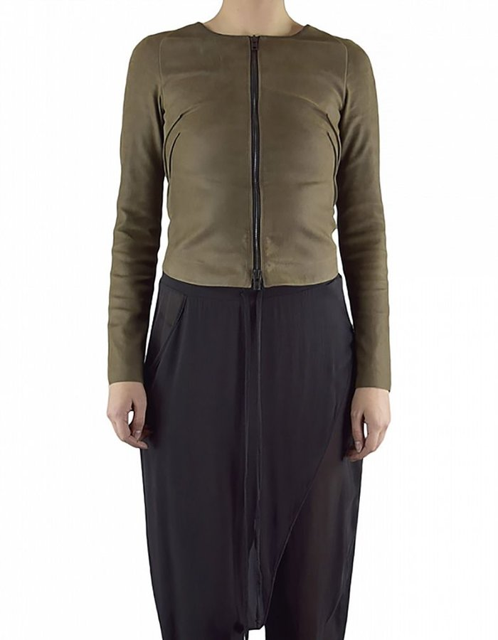 ISABEL BENENATO STRETCH LAMB LEATHER JACKET :SOIL