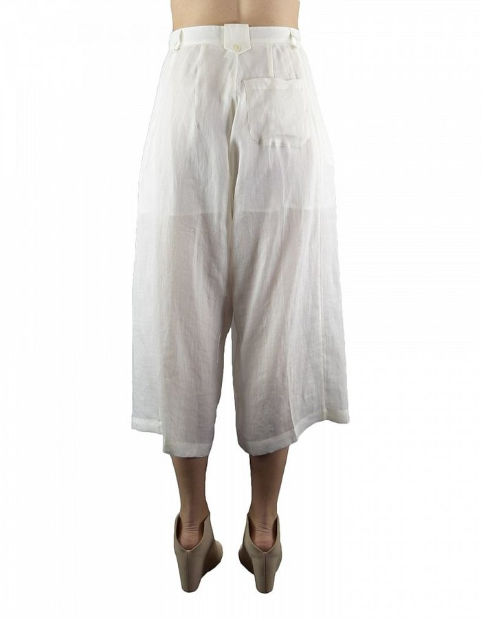 ISABEL BENENATO CROPPED WIDE TROUSERS :MILK