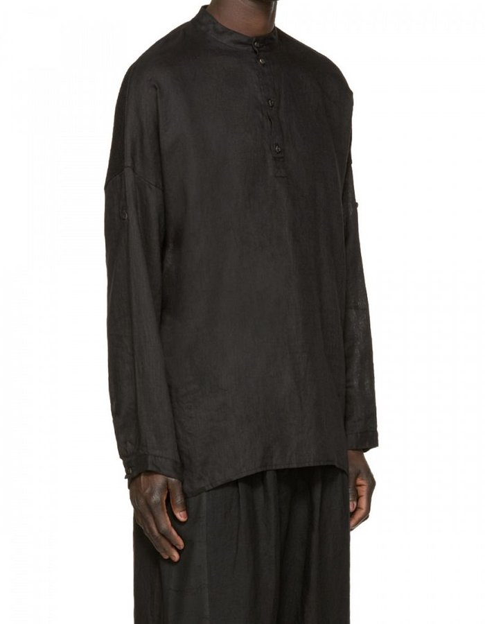 ISABEL BENENATO LINEN MANDARIN COLLAR SHIRT WITH MESH -BLACK