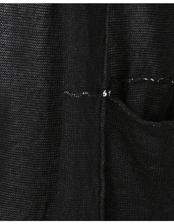 ISABEL BENENATO LINEN PATCHWORK CARDIGAN - BLACK