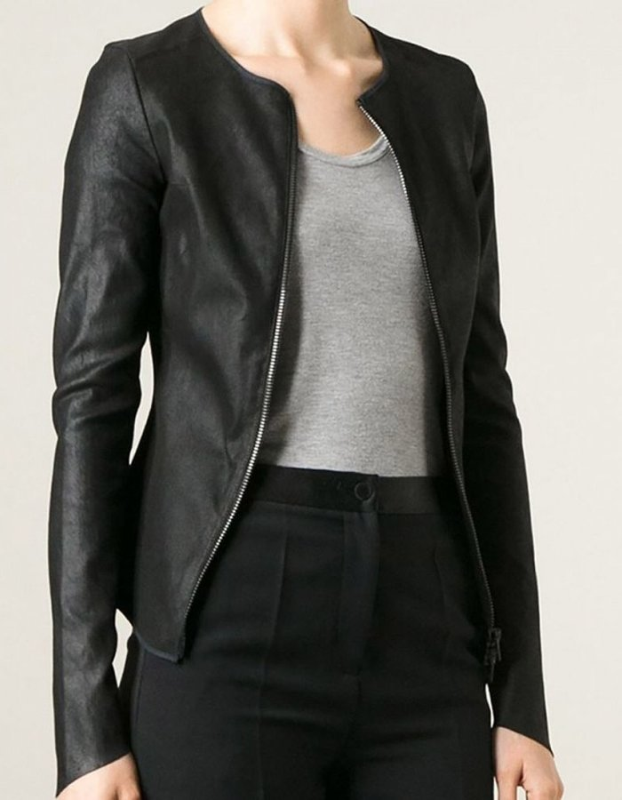 ISABEL BENENATO LEATHER ZIP JACKET