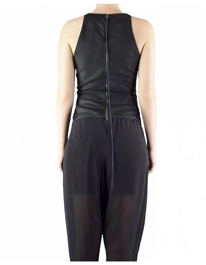 ISABEL BENENATO STRETCH LEATHER ZIP TOP