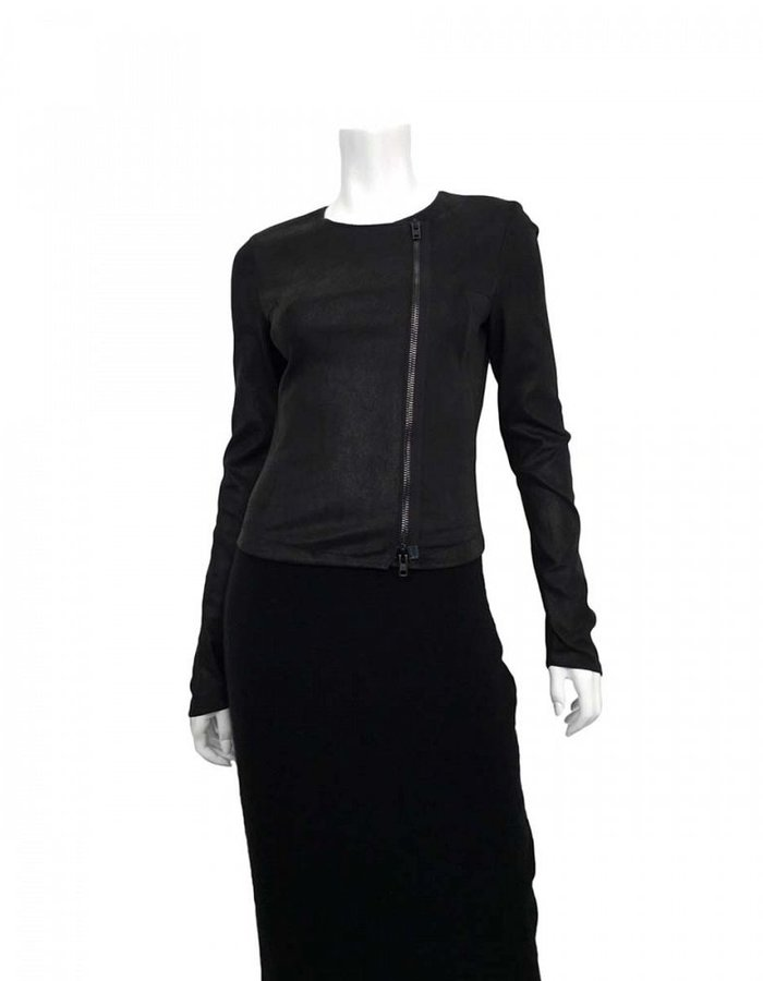 ISABEL BENENATO STRETCH LEATHER SIDE ZIP JACKET