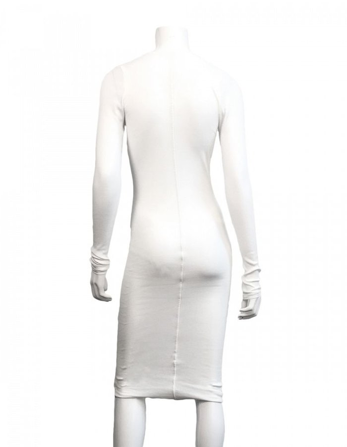 ISABEL BENENATO RIB LONG SLEEVE V NECK DRESS - WHITE