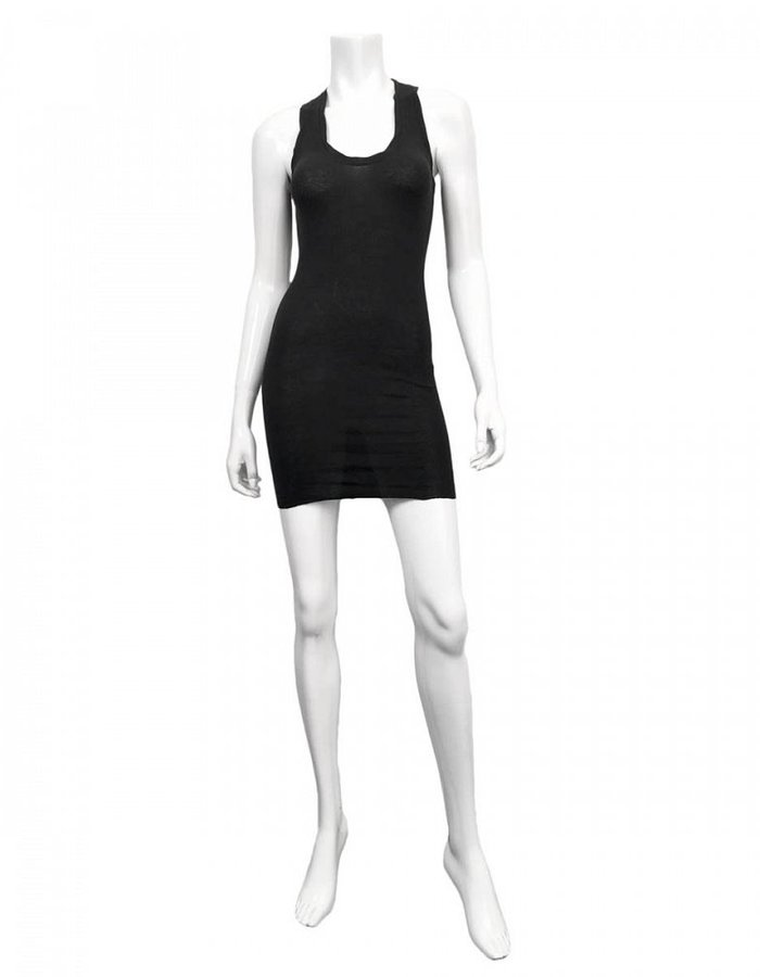 ISABEL BENENATO RIBBED SHORT TANK DRESS / TUNIC- BLACK