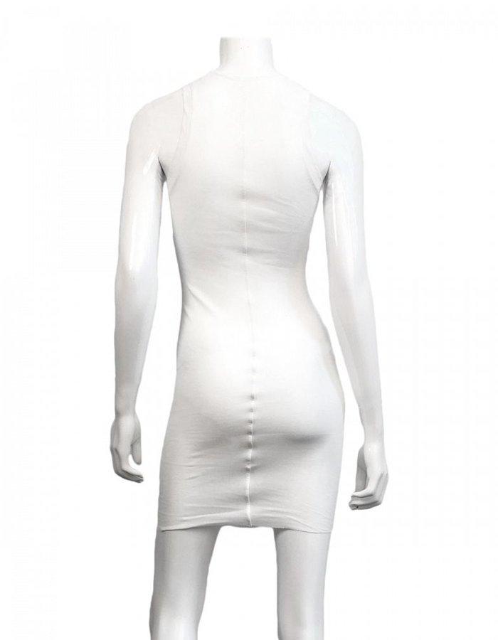 ISABEL BENENATO RIBBED SHORT TANK DRESS/ TUNIC -WHITE