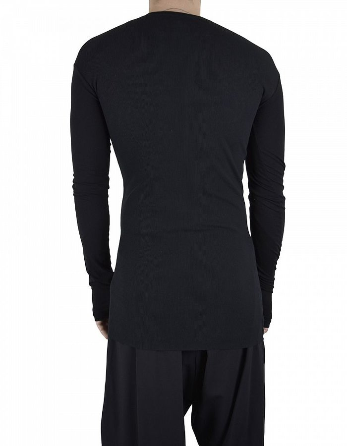ISABEL BENENATO EXTRAFINE RIB HENLEY WITH GLOVE :BLK