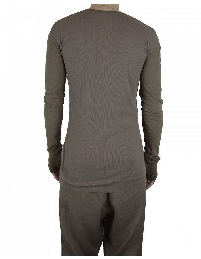 ISABEL BENENATO EXTRAFINE RIB HENLEY WITH GLOVE :SOIL
