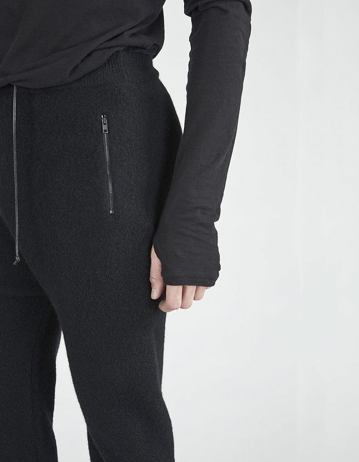 ISABEL BENENATO WOOL SPORT TROUSER WITH LEATHER POCKET BLK