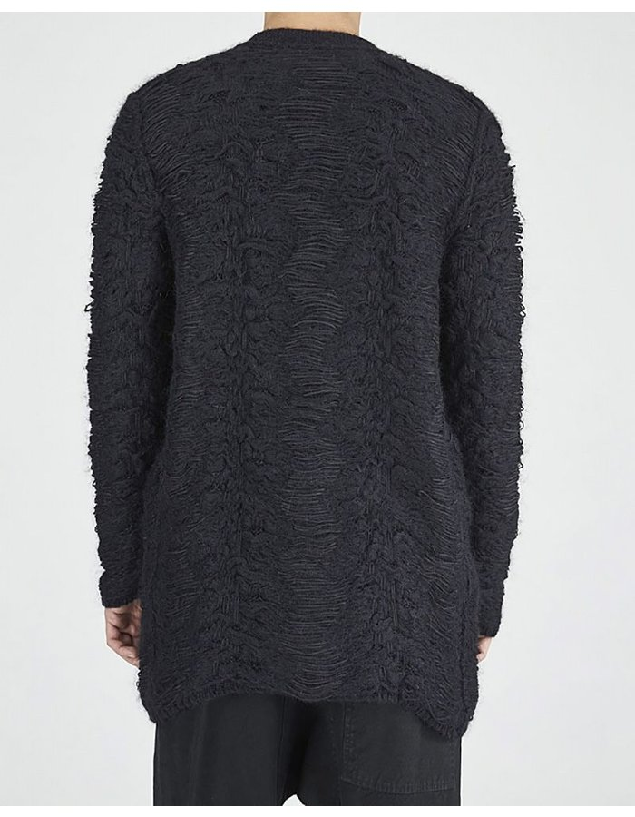 ISABEL BENENATO JACQUARD KNIT CARDIGAN WITH POCKETS BLK