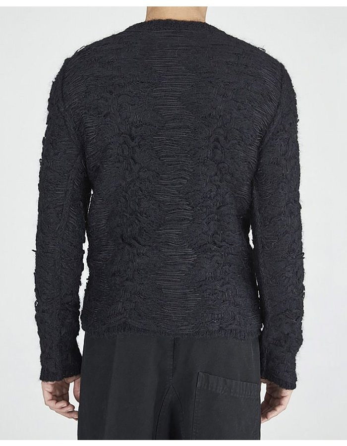 ISABEL BENENATO JACQUARD CREW NECK KNIT SWEATER BLK