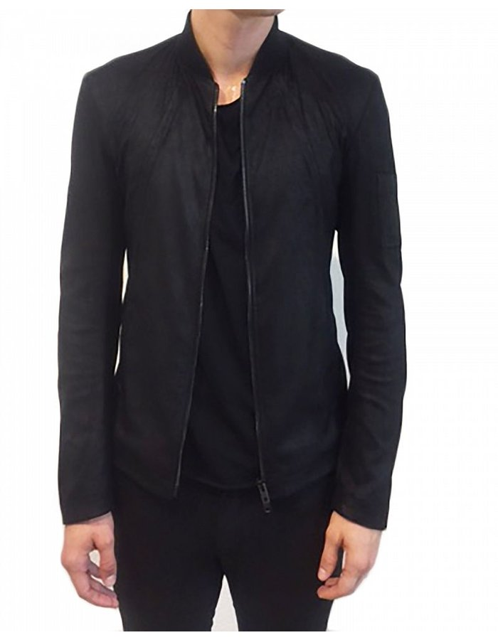 ISABEL BENENATO STRETCHED LEATHER ZIP UP JACKET WITH POCKETS